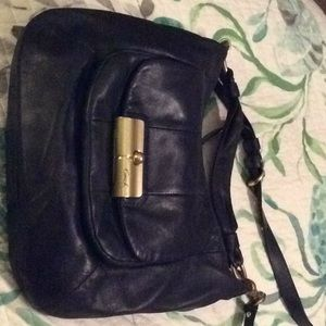 Coach navy blue leather purse